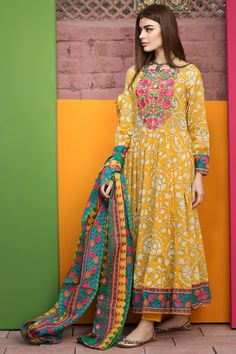 Lawn Dress by Khaadi Model L 59 is part of Pakistani formal dresses - 7 Customer Support For More Details Please Calls Us Now Thanks To Visit US Latest Pakistani Dresses, Pakistani Lawn Suits, Pakistani Fashion Casual, Pakistani Dress Design, Pakistani Outfits, Indian Dresses, Indian Outfits, Indian Fashion, Bridal Anarkali Suits