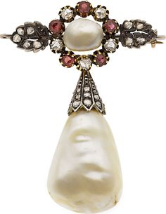 Victorian Natural Pearl, Diamond, Ruby & Silver-Topped Gold Brooch