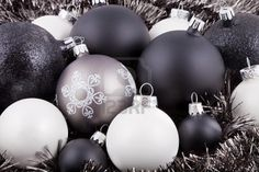 black white red Christmas decorations -