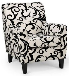 I would love this chair in my Living Room. Accent Chairs For Living Room, Formal Living Rooms, My Living Room, Living Room Furniture, Home Furniture, Furniture Design, White Accent Chair, Black And White Chair, White Chairs