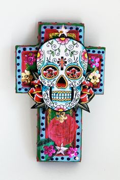 Mexican Sugar Skull On Wooden Cross Roygbiv Pink Baby Blue Green Vibrant Mulitcolor Day Of The Dead Home Decor Ooak Team Fest