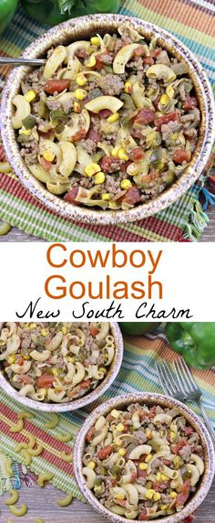 Cowboy Goulash is my twist on a the traditional goulash recipe. This version features lots of Tex-Mex flavors with just a enough  spice to give it a kick. | newsouthcharm.com | #texmex #easyrecipe #groundbeef #goulash