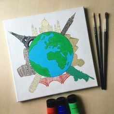 Earth Map Globe Landmarks Painting Around the World Handmade Acrylic Painting on Canvas