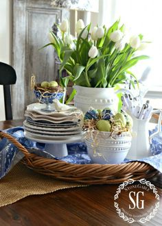 Spring Kitchen Table Vignette from StoneGable