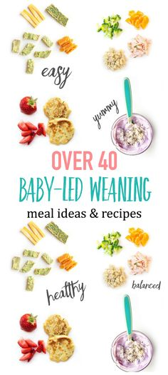 This guide provides over 40 healthy Baby-led Weaning meal ideas and recipes, including tips for how to serve various foods to babies starting their journey of baby-led weaning and answers to many of t Baby Led Weaning First Foods, Baby Led Weaning 7 Months, Baby Led Weaning Breakfast, Baby First Foods, Baby Finger Foods, Baby Lef Weaning, Baby Led Weaning Recipes 6 Months, Baby Led Weaning Lunch Ideas, Mug Cakes