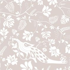 """Our signature whimsical bird and floral motif in a calming neutral: gray and white. We love how this colorway gives the pattern a soft and subtle flair. From the Avenue collection. Pattern repeat is 27"""" x 27"""" 30 yard minimum order.  Designed by Charlotte Harris Lucas + Liz Harris Carroll for House of Harris   Material: White Clay Coated Wallpaper  Once an order is place, please allow 4-6 weeks before the item ships."""