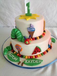 Very Hungry Caterpillar Birthday Cake Toddler Birthday Cakes, Boys First Birthday Cake, First Birthday Parties, Birthday Ideas, Birthday Crafts, Hungry Caterpillar Cake, Twins 1st Birthdays, Cake Decorating Tutorials, Cake Creations
