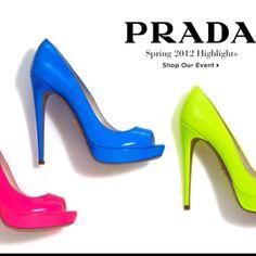 Prada Peep-toe Patent Pumps So loveeee these pumps! Neon Pumps, Shoe Boots, Shoe Bag, Shoe Closet, Prada Spring, Prada Shoes, Peep Toe Pumps, Me Too Shoes, Pop Shoes