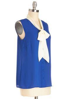 Madison Aptitude Top in Blue | Mod Retro Vintage Short Sleeve Shirts | ModCloth.com