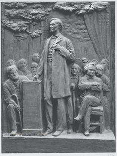 "Lincoln-Douglas Commemorative Tablet - sketch model (Quincy, IL), 10"" x 7"", 1935."