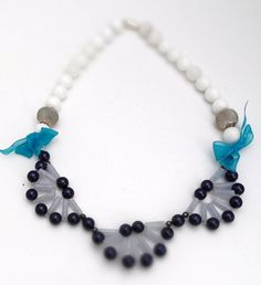 agate and pearl fan shape jewellery statement by realmgemsdesign, £42.99  my favourite design necklace