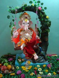 Sri Ganesh in swing Shri Ganesh Images, Ganesha Pictures, Ganesh Wallpaper, Lord Shiva Hd Wallpaper, Ganesh Lord, Sri Ganesh, Ganpati Picture, Happy Ganesh Chaturthi Images, Baby Ganesha
