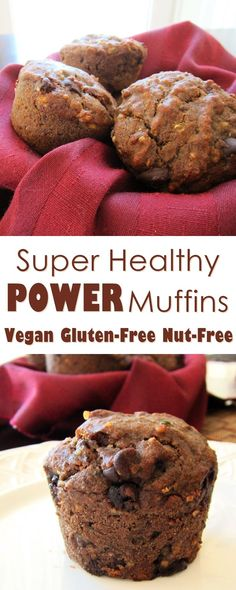 POWER Muffins Recipe - healthy, easy, naturally gluten-free, nut-free and vegan!