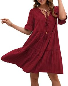 Adnee Summer Dresses for Women Short Sleeve V Neck Casual Loose Flowy Swing Shift Dresses at Amazon Women's Clothing store