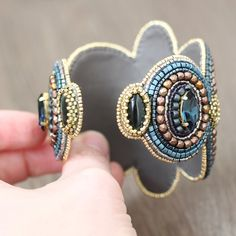 Bracelet Cuff Bead Embroidery - beadwork, beaded, embroidered, beading, wide, orthoceras, gemstones, Swarovski crystals, beads, blue, gold. Japanese