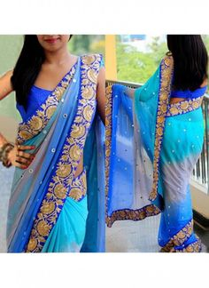 New Sky And Blue Fancy Embroidered Work Saree With Blouse