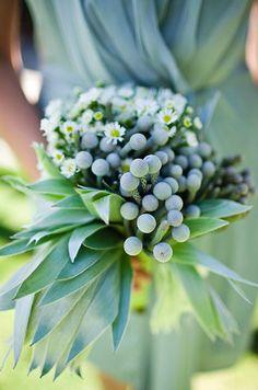 Jade green and ice blue bridesmaid bouquet: #bouquet #blue: http://www.kuperblog.com/
