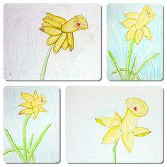 Eleverna i åk 3 ritar vårblommor Plastic Cutting Board, Pictures