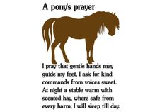 Horse decal-Pony sticker-Horse quote wall decor-28 X 40 inch Pony prayer. $24.00, via Etsy.