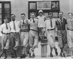 Sporty chaps.  Walt Disney and his team of animators.  Plus fours and patterned sweaters, 1920s.
