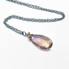 Ametrine pendant necklace, oxidised 925 silver chain, Gift for Her, Mix metal jewellery, Birthday Gift, Gemstone necklace by JewelleryHaven on Etsy https://www.etsy.com/sg-en/listing/291705011/ametrine-pendant-necklace-oxidised-925