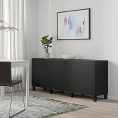 BESTÅ Storage combination with doors, black-brown, Stockviken/Stubbarp anthracite - IKEA Black Sideboard, Black Tv Console, Soft Closing Hinges, Frame Shelf, Plastic Foil, Basement Bedrooms, Basement Stairs, Knobs And Handles, Interior Accessories
