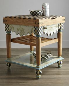 Pressed Flower Butcher Block Table by MacKenzie-Childs at Neiman Marcus.