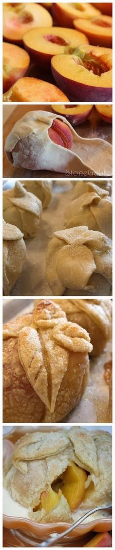 ohmygoodness! Need to try this recipe! Peach Dumplings