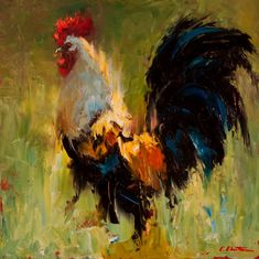 The Forgotten Path by Cheri Christensen Oil ~ 12 x 12 Rooster Painting, Rooster Art, Chicken Painting, Chicken Art, Farm Art, Cow Art, Wildlife Art, Acrylic Art, Animal Paintings
