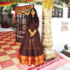 Dress made out of saree Long Dress made out of Saree I have already made a post to reuse and revive your old Kanjeevaram sarees in different ways. you can read the post Reu… Saree Gown, Sari Dress, Anarkali Dress, Indian Designer Outfits, Designer Dresses, Indian Outfits, Designer Wear, Kalamkari Dresses, Ikkat Dresses