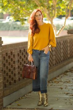 Wide Leg Denim Culottes with Snakeskin Booties - Elegantly Dressed and Stylish -Fashion Over 50 Dark Jeans Outfit, Wit And Wisdom Jeans, Denim Culottes, Cropped Wide Leg Jeans, Fashion Over 50, Women's Fashion, Yellow Shirts, Jeans Style, Work Wear