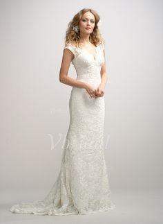 Robes de mariée - $233.99 - Forme Fourreau Col V alayage/Pinceau train Charmeuse Dentelle Robe de mariée (0025056613)