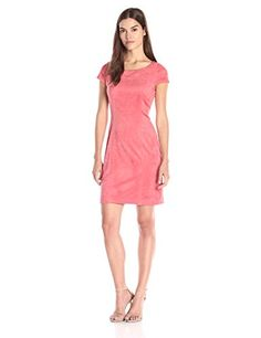 Nanette Nanette Lepore Womens Lenox Suede Aline Dress Soft Coral 4 ** Details can be found by clicking on the image.