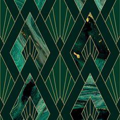Leonardo Wallpaper in Green Marble