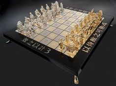 This glittering chess deck, designed by Victor F. Scharstein, offers an oriental twist to its typically classical constructions, right down to the pieces' scholarly robes and shrine-like figurines. Made of gold, each piece meticulously embellished with diamonds, sapphires, rubies and emeralds, along with other semi-precious stones. The Art of War Chess Set costs $750,000.