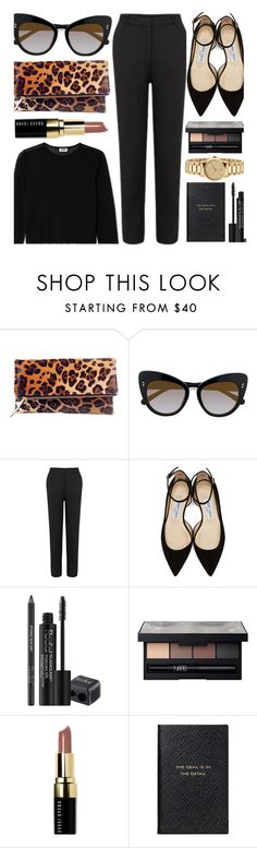 """""""Work Day"""" by smartbuyglasses-uk ❤ liked on Polyvore featuring STELLA McCARTNEY, Jimmy Choo, Rodial, NARS Cosmetics, Bobbi Brown Cosmetics, Smythson, Gucci, black and leopardbag"""