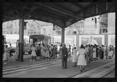 Russell Lee - People waiting for streetcars to arrive at terminal, Oklahoma City, Oklahoma (1939)