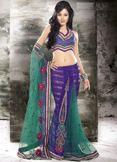 Blue, Green color family Lehngas Style Saree in Jacquard, Net fabric with Lace, Resham, Sequence work with matching unstitched blouse. Lehenga Style Saree, Lehenga Saree, Net Saree, Sari, Net Blouses, Green Saree, Fancy Sarees, Half Saree, Green Colors
