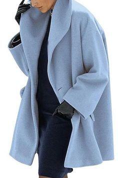 Warm Fashion Multi-Color Shawl Collar Coat - Trendy Shoes For Women Fashion Over, Look Fashion, Winter Fashion, Fashion Outfits, Womens Fashion, Stylish Outfits, Fashion Cape, Female Fashion, Mode Style