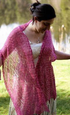 Hot pink knitted lace shawl. Sooooo pretty!