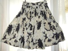 IE Petite Skirt Beige Floral/Polka Dot Pleated Cotton Lined Woven Womens Size 4P #IE #Pleated