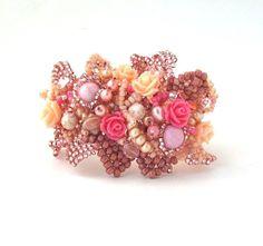 Statement Cuff Beaded bracelet Seed bead bracelet Floral bracelet Freeform bracelet Beadwork bracelet