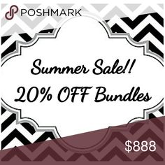 SALE.  SALE.  SALE.  Shop My Closet!! Summer Sale 20 % OFF Bundles of 3 or more  Includes Everything  Save $$$ Tops Tunics