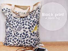 Estampar una bolsa de tela  con sellos / Block print a plain bag