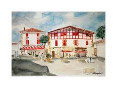 Peinture aquarelle de Espelette au Pays Basque : Peintures par ...