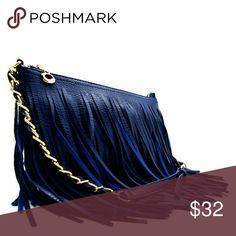 🆕Boho Fringe Chain Purse Gorgeous for any evening or boho look. Medium size has ample room for all your necessities for a night out.  . Cross Body Bag . Gold Tone Hardware . Both Sides Have Fringe . Zip Top Closure . Inside Zip and Open Pocket . Faux Leather . 25 Inch Shoulder Strap . H 7 INCH X W 9 1/2 INCH X D 1 INCH  BLUE Bags Crossbody Bags