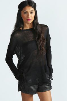 Jennie Laddered Fine Slouch Soft Knit at boohoo.com