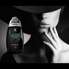 Woman in black with beautiful skin - this is the solution to eliminate wrinkles, dry skin and to slow massivly the aging process down . Never forget to take your Spa with you wherever you travel.