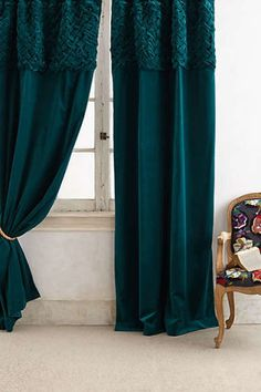 Anthropologie - Braided Velvet Curtain, Jewel tones make a room seem so much more glamorous!