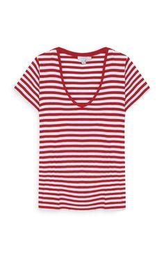 Primark - Camiseta a rayas rojas